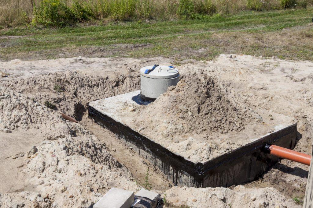 septic tank repair in progress